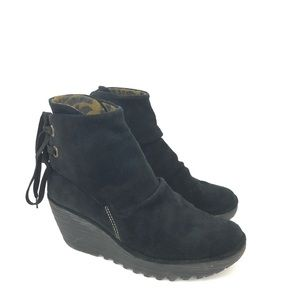 Fly London Size 38 Suede Wedge Yebi Ankle Boots